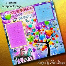 Birthday Magic -Balloons and Unicorn Themed Scrapbook Page - Handcrafted Art