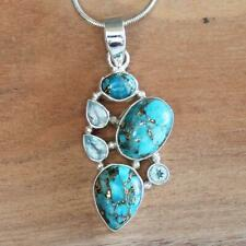 100% 925 Solid Sterling Silver Blue Copper Turquoise & Blue Topaz Pendant