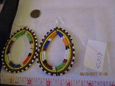 Maasai Beaded Earrings Kenya Africa hoop drop masi bridal design ornament c307