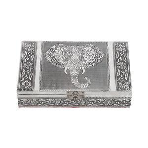 Aluminum Oxidized Elephant Face Storage Jewelry Box with Anti Scratch Interior