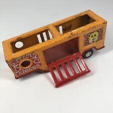 Vintage 1970s Pressed Steel Buddy L Circus Semi Trailer Animal Hauler (E)