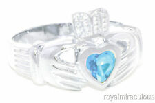 CLADDAGH RING 14K WHITE GOLD LOVE &  SIMULATED BLUE TOPAZ LUCKY - DECEMBER