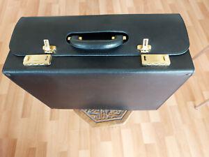 Valisette Pilot Case vintage plein cuir noir