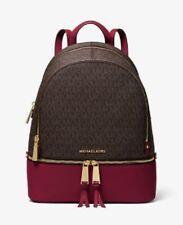 Michael Kors Rhea Medium Logo Leather Backpack Brown and Berry