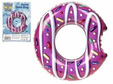 """INFLATABLE DONUT SWIMMING RING 24"""" Floater Beach Float Fun Kids Pool Gift New UK"""