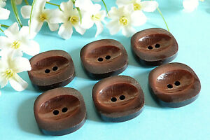 """305C Chequerboard Buttons Vintage """" Almond """" Brown Lot Of 6 Buttons ÉP.1950"""
