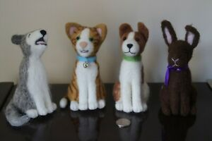 Large Needle Felted Animals Cat, Howling Wolf, Terrier and Rabbit
