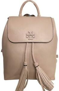 Brand New Tory Burch Taylor Backpack Biege Pebbled Leather