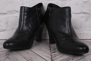 NEXT High Heel Boot Shoes LEATHER RRP £59 Black Biker Goth Zip Ankle EU 39 UK 6