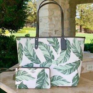 NWT COACH PALM TREE REVERSIBLE TOTE HANDBAG+WALLET OPTIONS WHITE/OLIVE GREEN
