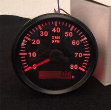 12/4V 85mm Boat 0-8000 RPM Tachometer Gauge Hour Meter Red Color Reading Pointer