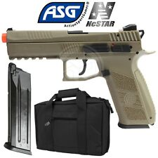 ASG Tan CZ P-09 Green Gas Blowback Airsoft Pistol Extra Magazine and Case Bundle