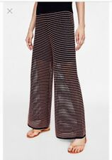 🌸 Zara Uk10 M L26 Palazzo Knitted Trousers Ankle Harem Straight Wide Loose