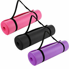 Yoga Mat For Pilates Gym Exercise 10mm Thick With Carry Strap Large Comfort NBR