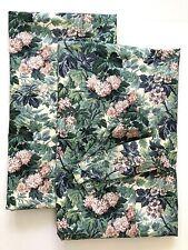 2 Laura Ashley Ashbourne Hydrangea Curtain Panels 2 Tiebacks Green Floral 41x86
