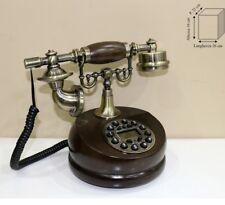 TELEFONO STILE ANTICO LEGNO NOCE RIFINITURE IN METALLO BRONZATO