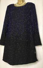 GINA BACCONI Dress Size 14 Shift Straight Black Purple Beaded Party Evening