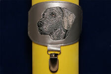 Weimaraner arm band ring number holder with clip. For dog shows.