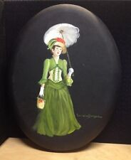 Painting Canvas Oil Artist Lorraine Bergeron Victorian beautiful women umbrella
