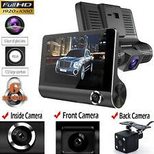 "4"" Three Lens HD 1080p Car DVR Rearview Video Dash Cam Recorder Camera G-sensor"