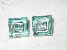Pair of beautiful square glass aquamarine stud earrings