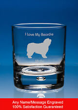 More details for bearded collie whisky glass dog gift personalised engraved whiskey glass tumbler