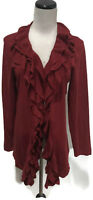 GRACE ELEMENTS Red Ruffled Flowy Open Front Hi Lo Hem Cardigan Sweater L EUC