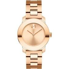 NEW Movado BOLD 3600435 Swiss Woman's Watch Rose Gold Dial Band Mid Size 30mm