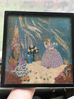 VINTAGE HAND EMBROIDERED PICTURE/FRAMED - BEAUTIFUL GARDENS EXQUISITE WORK