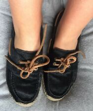 UGG Australia black calf leather lace up espadrilles, uk 5.5