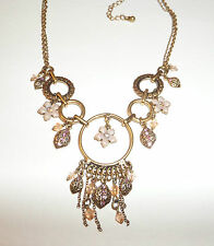 RINGS & FLOWERS GOLD PLATED PENDANT NECKLACE PINK STONES & PEACH BEADS 14/ 16""