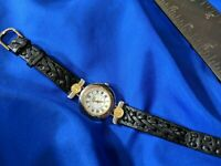 Anne Klein II GOLD TONE black leather band watch, new battery