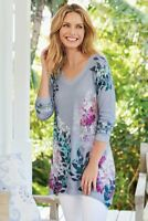 SOFT SURROUNDINGS NEW $79 Spring Fleur Floral Tunic Tee Top Size Small