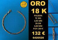 18K Pulsera TC 3X1 3 MM 20 CM Oro 18 Kilates 100%