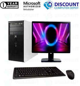 "HP DC Desktop Computer PC Tower Intel Dual Core 8GB 1TB DVD-RW WiFi 19"" LCD"