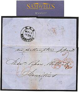 MS107 1859 GB MAURITIUS DESTINATION MAIL Liverpool Per P&O *Ripon*Northam*Suez*
