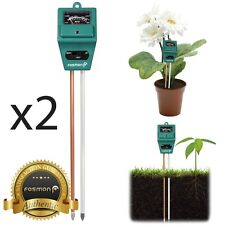 Fosmon 2x 3in1 Home Garden Lawn Pot PH Soil Meter Moisture Sensor Light Tester