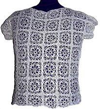 T shirt PIZZO Artigianale Maglia Bianca Cotone 100% Sottogiaccia S - M SALDI 50%