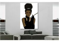 African Wall Art Woman in Audrey Hepburn Style CANVAS PRINT Painting