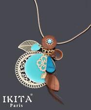 Luxus Halskette Kette Anhänger Vergoldet Ikita Paris Emaille Filigrann Perlmutt