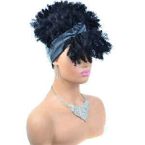 Women Girls Afro Kinky Curly Wrap Wigs Synthetic Full Curly Hair Headband Wigs