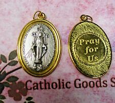 Miraculous Medal of Mary - Pray for Us - Two Tone Italian 1 3/4 inch Medal