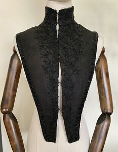 Antique Victorian Black Beaded Mourning Collar Yoke from Bodice | Study Repair