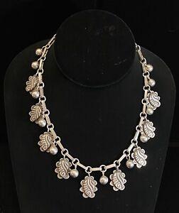 Rare Taxco 980 Silver Designer Rafael Melendez Mexico Ornate Necklace