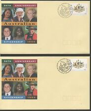 Australia 1999 FDC 50th anniversary of Aus Citizenship set stamps on 2 covers
