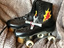 Vintage Leather Roller Derby Skates Black w/ Red And Yellow Flames Mens Size 8