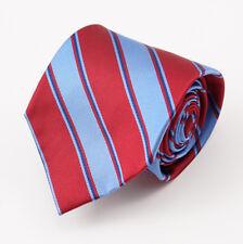 """New E.MARINELLA NAPOLI Red-Sky Blue Ribbon Stripe 3.5"""" Twill Silk Tie"""