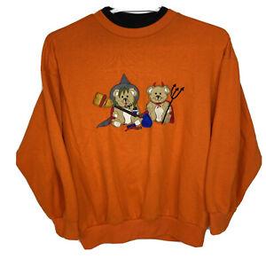 Vintage Halloween Basic Editions Women's Large Teddy Bear Sweatshirt Orange 90s