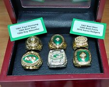 Green Bay Packers - 6 Ring Championship Set With Wooden Display Box