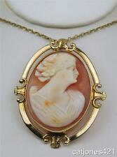 10K LARGE GOLD VINTAGE ESTATE CAMEO BROOCH/PENDANT IN SHELL - UNUSUAL